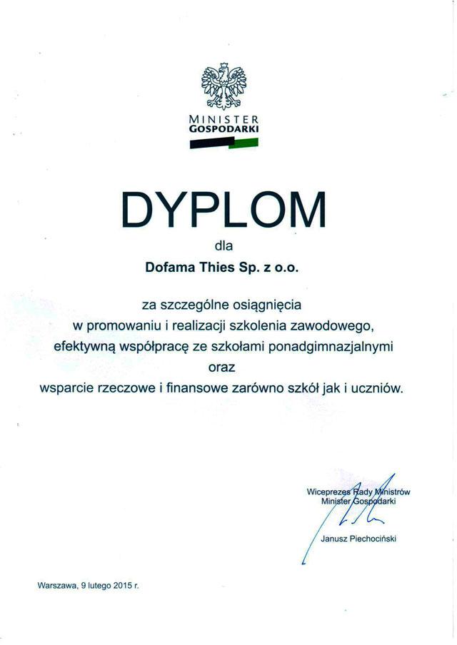 Dyplom Ministra Gospodarki